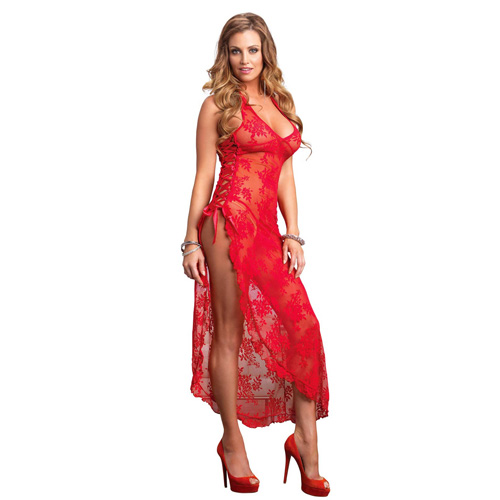 Leg Avenue 2 Piece Rose Lace Long Dress With Lace Side Red